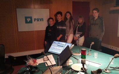 Snemanje radijske oddaje Hudo  v okviru projekta Erasmus+ Novi mediji v demokratični družbi